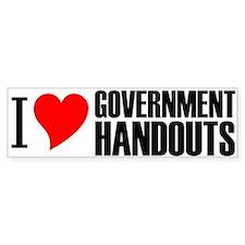I Heart Government Handouts Bumper Sticker (10 pk)