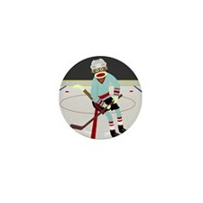 Sock Monkey Ice Hockey Player Mini Button
