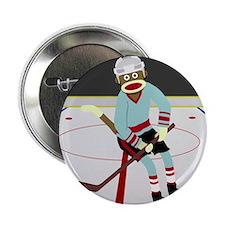 "Sock Monkey Ice Hockey Player 2.25"" Button"