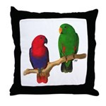 Eclectus Pair Digital Oil Throw Pillow