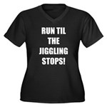 Jiggle Stopper Women's Plus Size V-Neck Dark T-Shi
