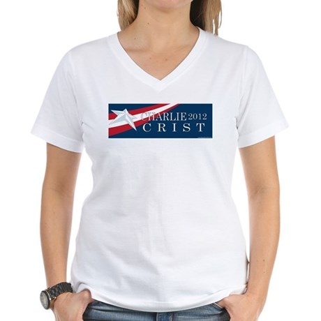 Charlie Crist 2012 Women's V-Neck T-Shirt