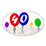 40th Birthday Oval Decal
