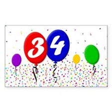 34th Birthday Rectangle Decal