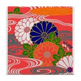 JapaneseTextile Chrysanthemum Tile Coaster