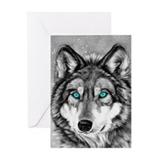 Painted Wolf Grayscale Greeting Card