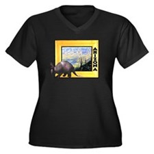 Arizona Armadillo Women's Plus Size V-Neck Dark T-