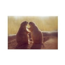 Kissing Prairie Dogs Rectangle Magnet