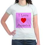 I Love America Jr. Ringer T-Shirt