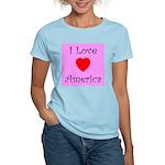 I Love America Women's Pink T-Shirt