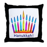 Neon Hanukkah Menorah Kids Throw Pillow