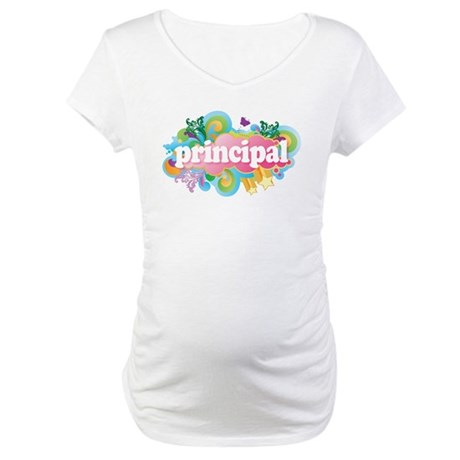 Cute Retro Principal Maternity T-Shirt
