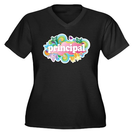 Cute Retro Principal Women's Plus Size V-Neck Dark
