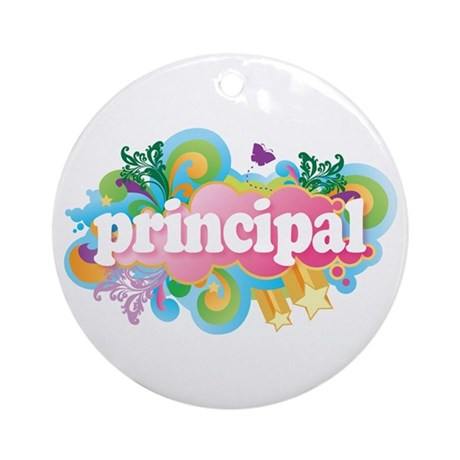 Cute Retro Principal Ornament (Round)