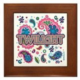 Twilight Retro Paisley Framed Tile