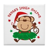 Monkey Girl Santa's Helper Tile Coaster