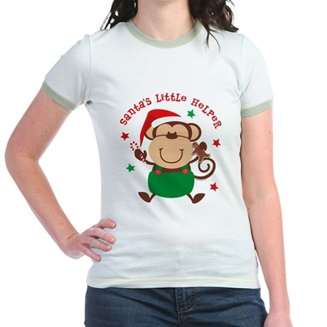Monkey Boy Santa's Helper Jr. Ringer T-Shirt