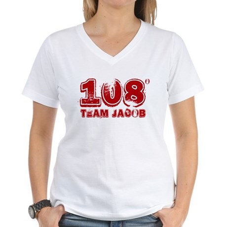 108 Degrees (red) Women's V-Neck T-Shirt
