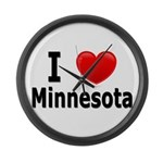 I Love Minnesota Large Wall Clock