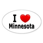 I Love Minnesota Oval Sticker (10 pk)