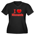 I Love Minnesota Women's Plus Size V-Neck Dark T-S