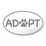 Adopt White Oval Oval Sticker (50 pk)