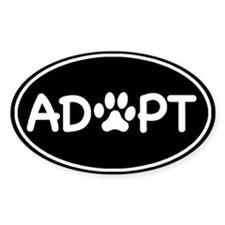 Adopt Black Oval Oval Stickers