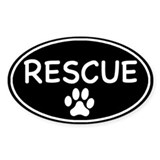 Rescue Black Oval Oval Bumper Stickers