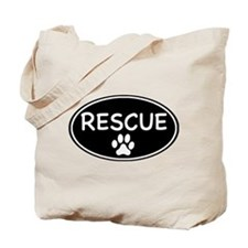 Rescue Black Oval Tote Bag