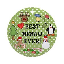 Best Memaw Ever Christmas Ornament (Round)
