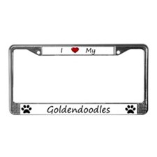 White I Love My Goldendoodles License Plate Frame
