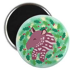Retro Baby Tapir XMAS Wreath Magnet