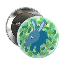 "Retro Aardvark XMAS Wreath 2.25"" Button"