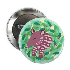 "Retro Baby Tapir XMAS Wreath 2.25"" Button"