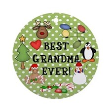 Best Grandma Ever Christmas Ornament (Round)