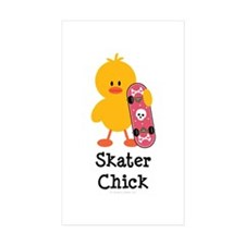 Skater Chick Rectangle Sticker 50 pk)