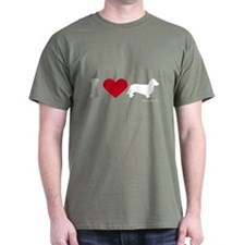 I Love my Dachsund ~  Black T-Shirt