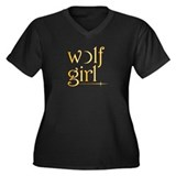 Wolf Girl New Moon Women's Plus Size V-Neck Dark T