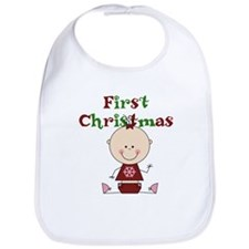 Baby Girl First Christmas Bib