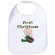 Boy With Ornament 1st Christmas Bib