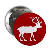 "Red And White Reindeer Motif 2.25"" Button"