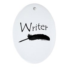 Writer with quill pen Oval Ornament