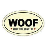 WOOF! SCOTTIE Scottish Terrier Oval Sticker