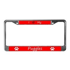 Red I Love My Puggles License Plate Frame