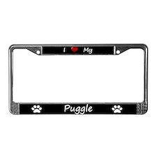 Black I Love My Puggle License Plate Frame