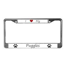 White I Love My Puggles License Plate Frame
