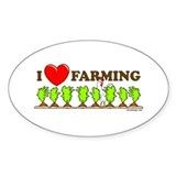 I Heart Farming Oval Decal