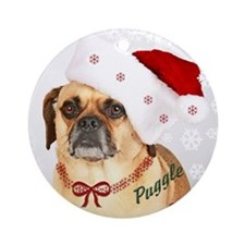 A Puggle Christmas Ornament (Round)