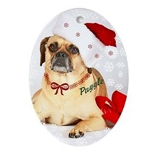 A Puggle Christmas Oval Ornament