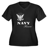 Navy Fiancee Grunge White Women's Plus Size V-Neck